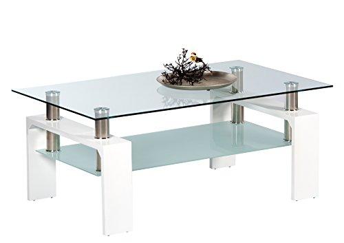 Hochglanz Glas (Stella Trading Mango Couch- x Wohnzimmertisch, Holz, weiß, 100 x 60 x 46 cm)