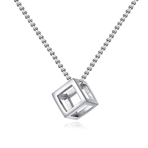 KIMSAI Persönlichkeit Quartet Rubik's Cube Anhänger Einfacher dreidimensionaler Schmuck Retro einfacher hohler Anhänger Halskette aus Titanstahl Geschenk von Familie oder Freunden,Silver