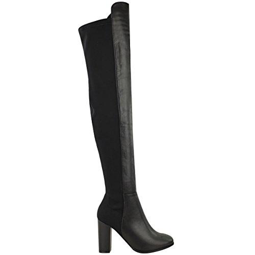 NUOVO da donna sopra al ginocchio stivali aderenti, Alti Tacco Largo Elasticizzato Scarpe Numeri Ecopelle Nera