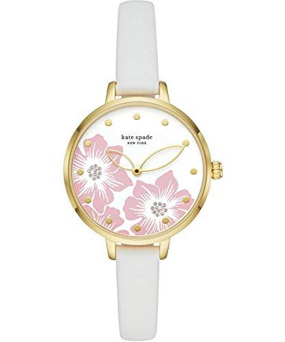 Kate Spade New York - Reloj para Mujer de Cuero Blanco con Triple manecilla KSW1511