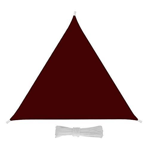 EGLEMTEK Sonnensegel Dreieck-Segel Tuch Sonnenbrille Außenbeleuchtung-UV Schutz-Stoff in Polyethylen robust und wasserdicht-Amarant 3x3x3 m Amaranto