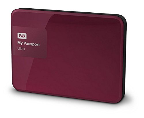 Western Digital My Passport Ultra 2 TB Externe Festplatte (bis zu 5 Gb/s, USB 3.0) wildkirsche