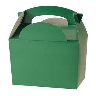 30 Childrens/Kids Plain Coloured Carry Food Meal Birthday Party Box Loot Bag Boxes - Size: 152mm x 100mm x 102mm (Dark Green)