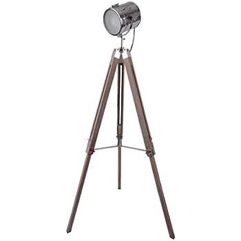 Wooden Tripod Floor Lamp Industrial Style Spotlight Lamp