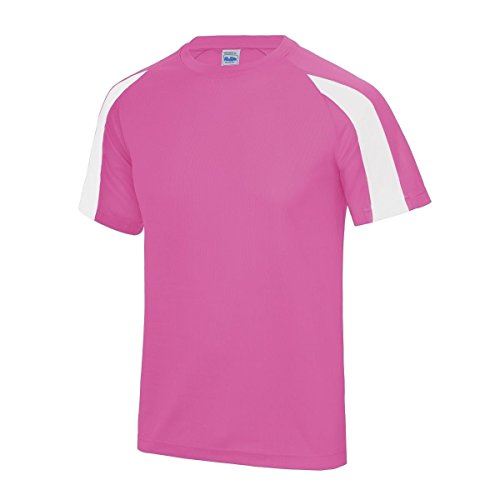 AWDis Herren T-Shirt - Electric Pink/ Arctic White
