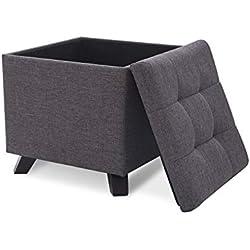 Suhu Pouf Tabouret Cube Tissu Coiffeuse Coffre de Rangement Repose Pied de Salon Design Chaise Moderne Siège en Lin Reposé Pieds en Bois avec Couvercle Gris Foncé