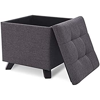 Costway Faux Leather Ottoman Pouffe Storage Toy Box With