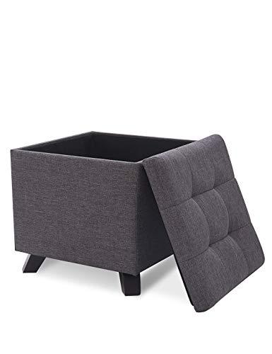 Suhu pouf puff sgabello di stoccaggio poggiapiedi cassapanca cubo contenitore quadrato moderno basso design gambe in legno massello grigio scuro
