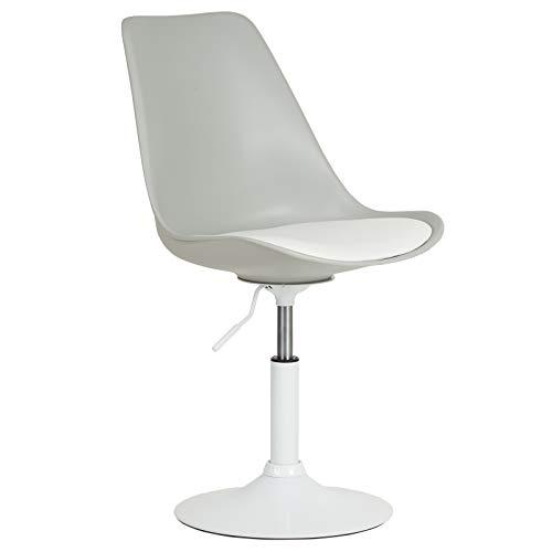 Hartleys Moderner Stilvoller Drehstuhl - Weißer Fuß/Grauer Sitz/Weißes Sitzkissen
