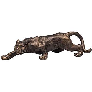 aubaho Animal sculpture - big cat statue - leopard lion jaguar - bronze look iron