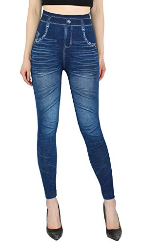 dy_mode High Waist Leggings Damen Hose Jeggings in Jeans Optik ideal für Frühjahr Sommer - OneSize Gr.36-42 - JL078 (JL078-OneSize Gr.36-40)