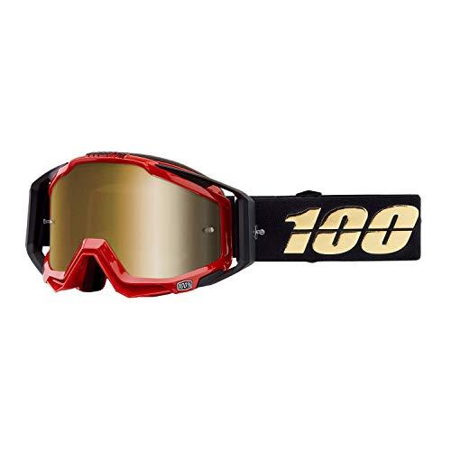 100% Racecraft Schwarz Erwachsene Hot Rod Brilles w/Gold Spiegel Linse