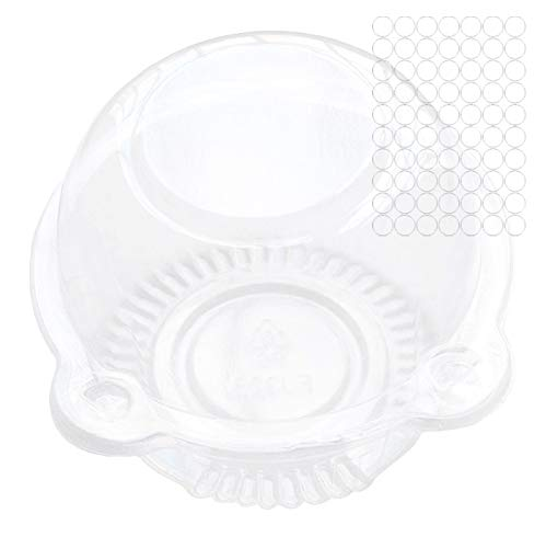 Cup A Kuchen klar Pod Behälter Individuelle Cupcake Kunststoff Dome Box für Muffins, Salat, Käse, cremefarben, Fairy Cakes