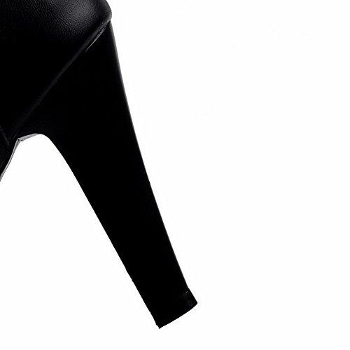 VogueZone009 Femme Matière Souple Rond Couleur Unie Haut Élevé Bottes avec Dentelle Noir