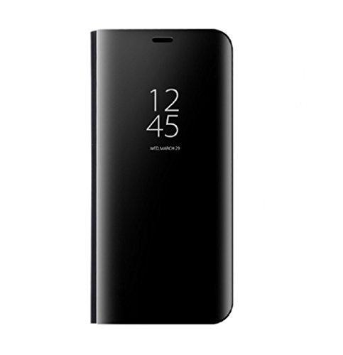 Samsung Galaxy S8 Spiegel Schutzhülle Flip Handy Case Tasche mit Standfunktion Business Serie Hart Case Cover für Samsung Galaxy S8/S8 Plus (Samsung Galaxy S8 Plus, Schwarz)