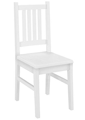Weiße Holz-küche-stuhl (Weißer Stuhl Eris Küchenstuhl Massivholzstuhl Esszimmerstuhl Kiefer 90.71-01 W)