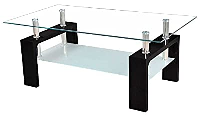 Vida Designs Elise Coffee Table, Glass, Black