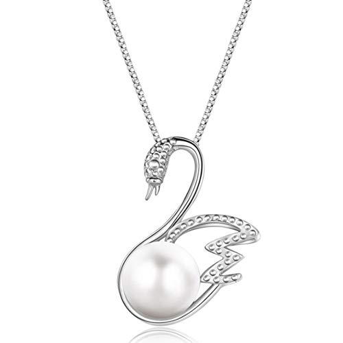 XINGYU Halsketten FüR Frauen Silber 925 AnhäNger Perle Herz Fein Zirkonia Crystal Swan AnhäNger Und FüR MäDchen Modeschmuck Mit Geschenkbox, Silver