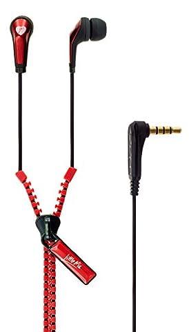 Vibe Little Mix Merchandise Zip Cable In-Ear Metallic Headphones - Red