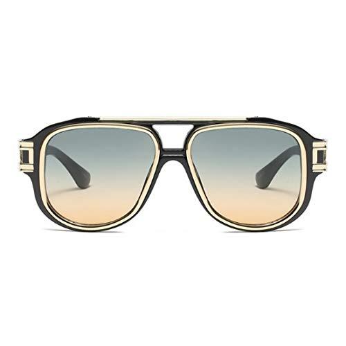 Punk Style Übergroße metallische Sonnenbrille für Frauen Big Frame UV-Schutz Outdoor-Sonnenbrille für das Fahren. Brille (Farbe : Green)