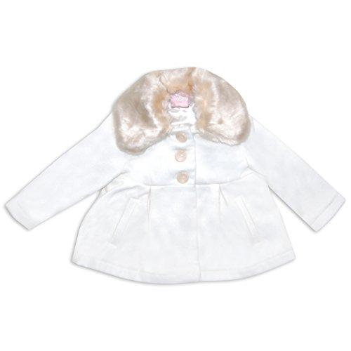 Bambina in pelliccia sintetica cappotto ideale per inverno lana di Chloe Louise in crema o rosa beige Cream/Brown 6-12 mesi