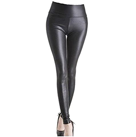 A-Express® High Waist Wet Faux Leather Look Ladies Leggings Size - (UK-14)