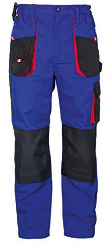 Stenso Emerton® - Pantaloni da Lavoro multitasca Extra Resistenti - Uomo - Blu Reale/Nero/Rosso - 46