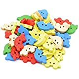 Pack of 25 Mixed Colours Car Shape 2 holes Wooden Buttons, 5 x Red, 5 x Blue, 5 x Green, 5 x natural, 5 x yellow, for Sewing, Scrapbooking, Embelishments, Crafts, Jewellery making, shabby chic, Knitting, 19x11mm