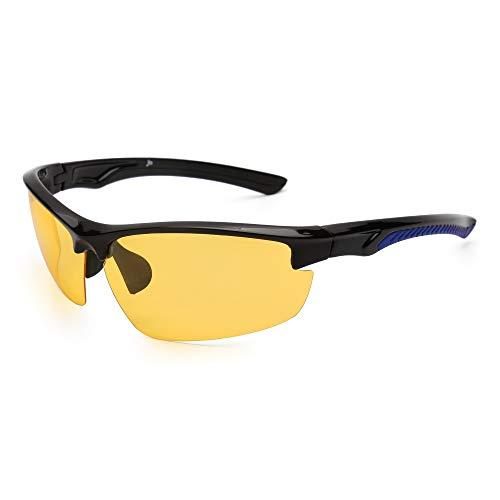 JM Conducción Nocturna Gafas Deportivas Polarizadas Anti Deslumbramiento Visión Nocturna Gafas de Sol Reduce Fatiga Visual Negro Azul