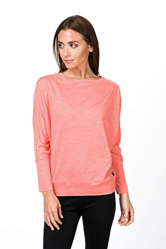 super.natural Leichtes Damen Langarm Yoga-Shirt, Mit Merinowolle, W KULA TOP, Größe: M, Farbe: Rosa meliert