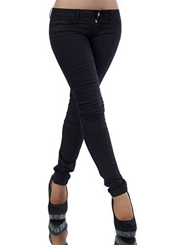 L361 Damen Jeans Hose Hüfthose Damenjeans Hüftjeans Röhrenjeans Röhrenhose Röhre, Farben:Schwarz;Größen:42 (XL)
