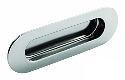 Flush Oval Radius Recessed Sliding Door Pull Handle - Polished Bright Shiny Stainless Steel - cheap UK light shop.