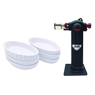 A-ONE KITCHEN TOOL Butane Cooking Kitchen Blow Torch Black with 6-Piece White Oval Creme Brulee Ramekins