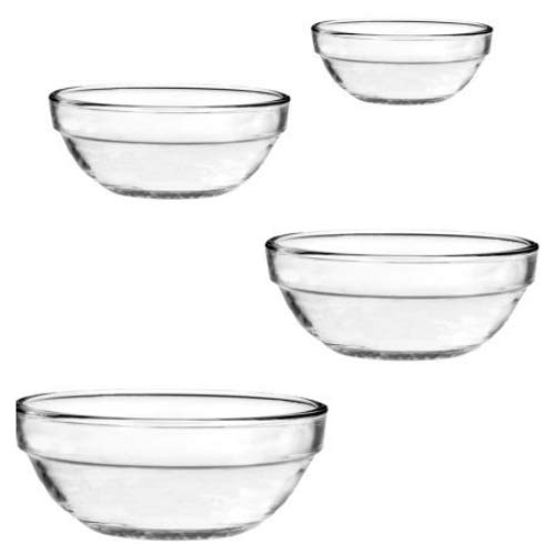 4 Pc. Nesting Bowl Set (1 qt./.9L , 1.5 qt/1.4L , 2.5 qt./2.4L & 3.5 qt./3.2L Bowls) by Anchor Hocking Glas Nesting Bowls