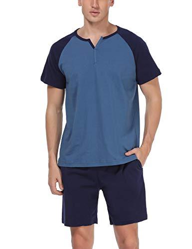 Abollria Schlafanzug Herren Zweiteiliger Pyjama kurz Baumwolle Schlafanzüge Anzug Shirt Hose Kurze Sommer Shorty Sleepwear Loungewear (Blau-100% Baumwolle, L) - Pyjama-hose Loungewear