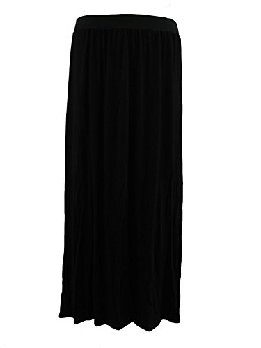 Lush clothing-womens Damen Plus Größe 16–26Uni Lange Stretch Jersey Zigeuner Maxi skirt-bnwt, Schwarz (Clothing Size Womens Trendy Plus)