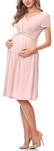 Be Mammy Damen Umstandskleid Maternity Schwangerschaftskleid BE20-223 (Puderrosa, L)
