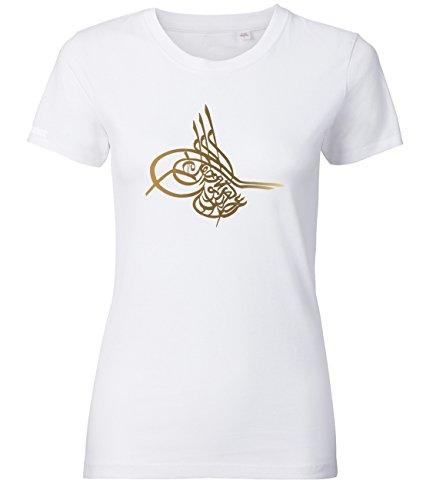 Zeichen Damen Schnitt T-shirt (Tugra - Osmanisches Zeichen - Weiss - WOMEN T-SHIRT by Jayess Gr. L)