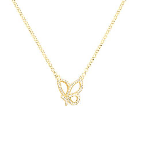 e,925 Silber Halskette Set Schmetterling Ring Damenmode Wild Einfache Ohrringe Silberschmuck @ Gelbe Halskette ()