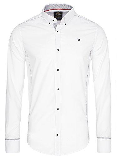 OZONEE Herren Klassisch Hemd Freizeithemd Langarm Shirt Casual Slim Fit RAW LUCCI 777K Weiß