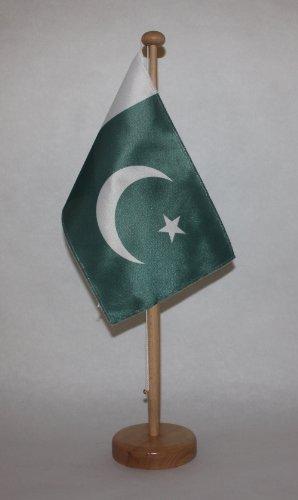 Pakistan Tischflagge 15x25 cm in Profiqualität, mit 42 cm Massivholz - Tischständer