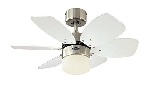 319w9%2BIzaPL - Westinghouse Lighting 78788 Flora Royale One-Light 76 cm Six Indoor Ceiling Fan, Opal Frosted Glass, Satin Chrome Finish…
