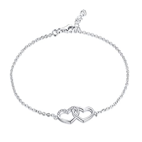 YL Heart Chain Bracelet-925 Sterling Silver pave AAA Cubic Zirconia Gemstone Heart by Heart Bracelet Jewelry for Girls and Women, Chain 18-20 cm (7-8 inches)