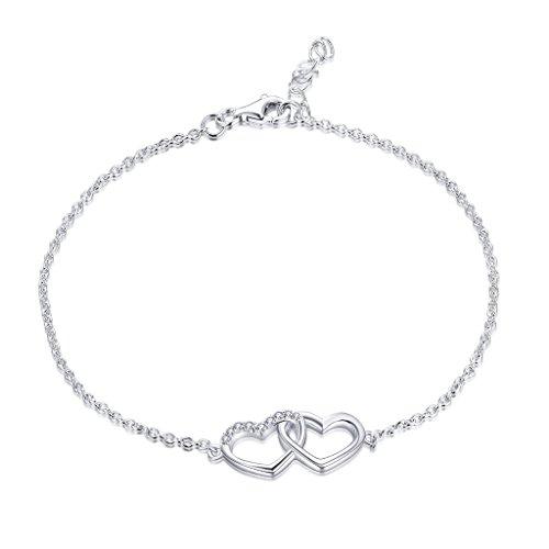 YL Armband Herz 925 Sterling Silber Weiß Gold überzogen und Zirkonia Herz von Herz Armband Schmuck für Damen, 18-20cm