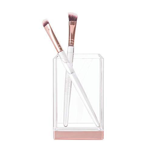 iDesign Zahnputzbecher, kleiner Badezimmer Becher aus Kunststoff, Badaccessoire zur Zahnpflege- oder Kosmetikaufbewahrung, durchsichtig und roségoldfarben