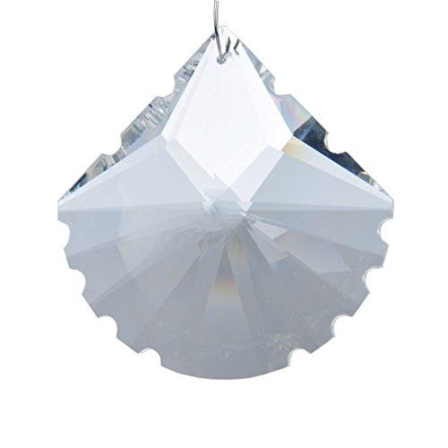 H&D 50 mm Glaskristall klar facettiert Kronleuchter Prismen einhaengerpaar Tropfen Lampe Kerzenhaltern Teile, Kristall, scallop shape, 10 Stück Crystal Scallop