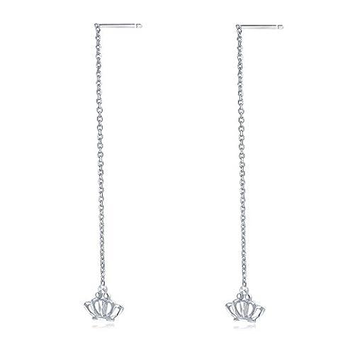 14ct 585Weiß Gold Diamantschliff Prinzessin Kaiserkrone Lange Kette Einfädler Ohrringe Frauen Schmuck (Kette Einfädler Ohrringe)