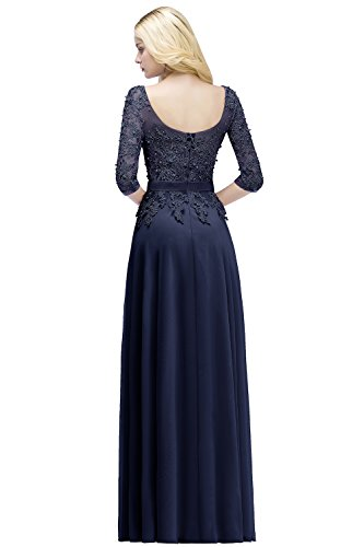 Damen Prinzessin Abiballkleid Tüll Spitze Perlstickerei Abschlusskleid lang Navyblau 36