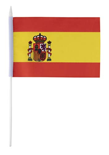Juvale Spanien Stockflaggen - 72 Stück Spanische Flaggen auf Stock mit Spearhead-Spitze, 14 x 20 cm (Spitzen-top Spanische)