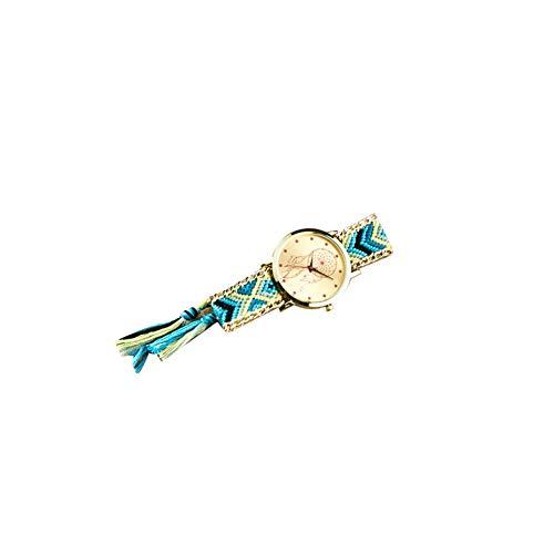 Reloj analógico de Cuarzo para Mujer con Pulsera de Tela, atrapasueños, Hecho a Mano, con Cuerda de Colores, Color Aleatorio